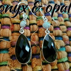 Genuine Onyx Opal Earrings Sterling Silver